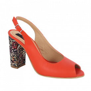 Sandale din piele naturală cod 1068 Portocaliu