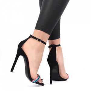 Sandale pentru dame cod ST0020 BLACK - Sandale pentru dame din piele ecologică întoarsă Închidere prin baretă Calapod comod - Deppo.ro