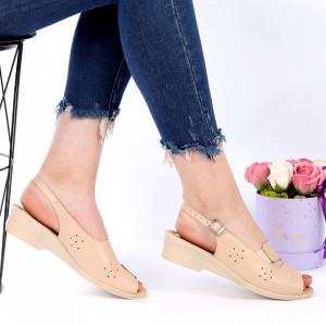 Sandale pentru dame din piele naturală cod 024 Bej