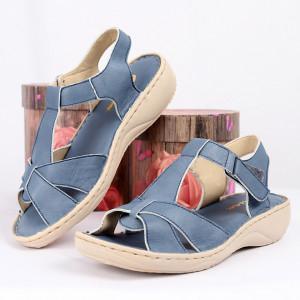 Sandale pentru dame din piele naturală cod 090 Albastru