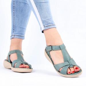Sandale pentru dame din piele naturală cod 090 Turcoaz