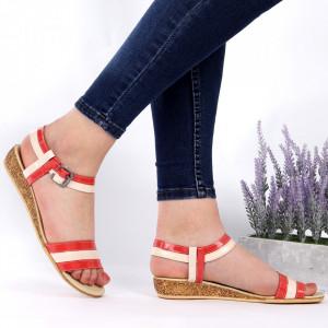 Sandale pentru dame din piele naturală cod 9902 Bej