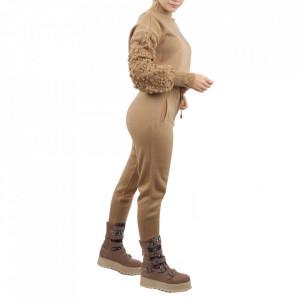 Trening tricot damă Bej - Compleu pentru femei, compus din bluză, pantalon Material ușor elastic Pantalon cu buzunareoar  laterale - Deppo.ro