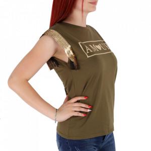Tricou pentru dame cod F230 Green - Tricou pentru dame  Model decorativ cu paiete  Conferă lejeritate și o ținută casual - Deppo.ro