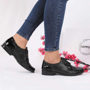 Pantofi din piele naturală cod 14138 Black