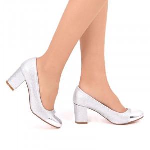 Pantofi cu toc cod SH860 Arginti