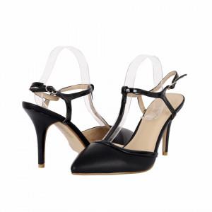 Pantofi cu toc cod LT65 Negri - Pantofi albi decupați cu vârf și toc ascuțit din piele ecologică, foarte confortabili cu un calapod comod - Deppo.ro