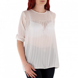 Bluză pentru dame cod 92454 Albă - Bluză pentru dame Conferă o ținută lejeră de vară - Deppo.ro