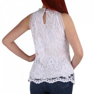Bluză pentru dame cod DNT89 Alb - Bluză pentru dame Închidere prin nasture - Deppo.ro