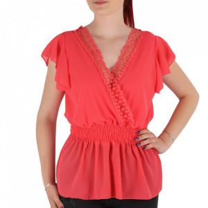 Bluză pentru dame tip cămășuță cod 1938 Coral