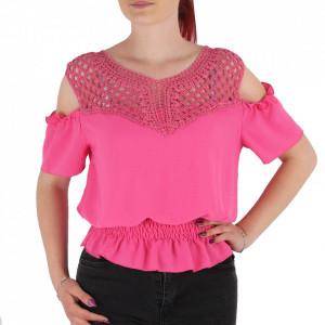 Bluză pentru dame tip cămășuță cod NN001 Pink
