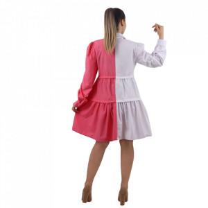 Cămașă Zana Pink&White - Este o cămașă tip rochie cu închidere prin nasturi. Este in doua nuanțe deschise care se pot asorta ușor. Se poate accesoriza cu o curea in talie pentru un asptect armonios. - Deppo.ro