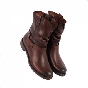 Ghete din piele naturală cod 2622 Maro - Ghete din piele naturală cu închidere prin fermoar, stil casual. - Deppo.ro