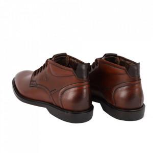 Ghete din piele naturală cod 3502 Maro - Ghete din piele naturală cu inchidere prin fermoar, stil casual. - Deppo.ro