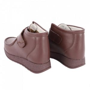 Ghete din piele naturală cod PL-3104 Coffee - Ghete din piele naturală cu inchidere prin scai, stil casual. - Deppo.ro