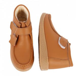 Ghete din piele naturală cod PL-9601-2 Camel - Ghete din piele naturală cu inchidere prin scai, stil casual. - Deppo.ro