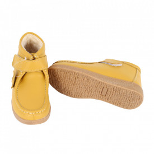 Ghete din piele naturală cod PL-9601-2 Yellow - Ghete din piele naturală cu inchidere prin scai, stil casual. - Deppo.ro