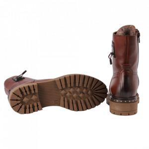 Ghete din piele naturală pentru dame cod 500X Maro - Ghete din piele naturală Interior cu căptușeală - Deppo.ro