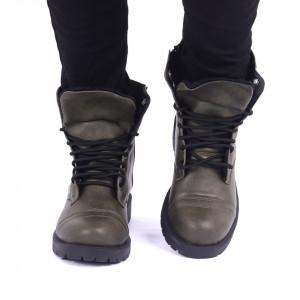 Ghete pentru bărbați cod 41953 Army Green - Ghete din piele ecologică cu închidere cu șiret și fermoar - Deppo.ro