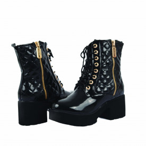 Ghete pentru dame cod HL719 Negre - Ghete pentru dame din piele ecologică decorate cu inserții metalice - Deppo.ro