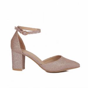 Pantofi cu toc cod 30875 Champagne - Pantofi decupați tip sanda cu vârf și toc ascuțit din piele ecologică, foarte confortabili cu un calapod comod - Deppo.ro