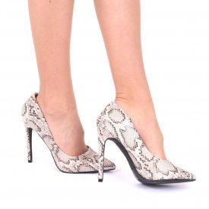 Pantofi cu toc cod AN22 Gri - Pantofi din piele ecologică, cu vârf ascuţit şi toc subţire, foarte confortabili cu un calapod comod - Deppo.ro