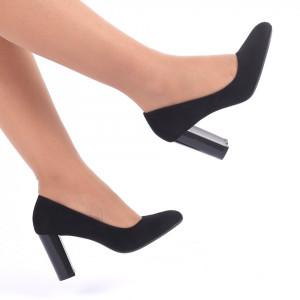 Pantofi cu toc cod CA43 Negri - Pantofi cu vârf rotund din piele ecologică, foarte confortabili cu un calapod comod - Deppo.ro
