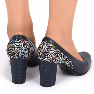 Pantofi cu toc Cod din piele naturală 319V Bleumarin - Pantofi cu toc din piele naturală moale, foarte comozi, acești pantofi vă conferă lejeritate și eleganță - Deppo.ro