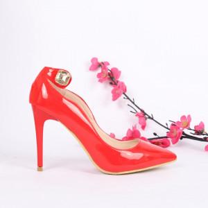 Pantofi Cu Toc cod MZ303 Red - Pantofi cu toc din piele ecologică cu model deosebit de frumos Fii în pas cu moda şi străluceşte la următoarea petrecere. - Deppo.ro