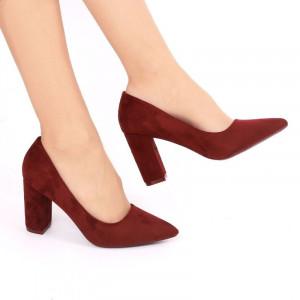 Pantofi cu toc cod OD0001 Vișini - Pantofi din piele ecologică întoarsă de înaltă calitate cu tocul pătrat de 8 cm şi vârf ascuţit - Deppo.ro