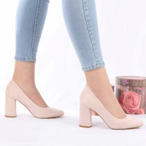 Pantofi cu toc cod OD0073 Bej - Pantofi cu toc gros și vârf rotund din piele ecologică întoarsă, foarte confortabili potriviți pentru birou sau evenimente speciale. - Deppo.ro
