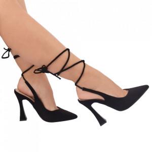 Pantofi cu toc cod OD0330 Black suede