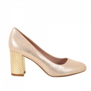Pantofi cu toc din piele ecologică cod C-99 Champagne