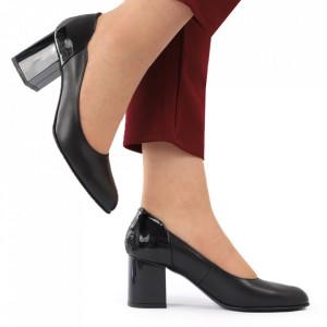 Pantofi cu toc din piele naturală cod 1049 Negru - Pantofi cu toc din piele naturală moale, foarte comozi, acești pantofi vă conferă lejeritate și eleganță - Deppo.ro
