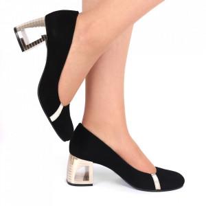 Pantofi cu toc din piele naturală Cod 1215 Negri - Pantofi cu toc din piele naturală moale  Model de toc deosebit de frumos  Acești pantofi vă conferă lejeritate și eleganță - Deppo.ro