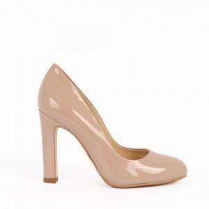 Pantofi cu toc din piele naturală cod 4117 Bej