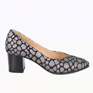Pantofi cu toc din piele naturală cod 820 Gri