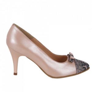 Pantofi cu toc din piele naturală cod 821 Champagne