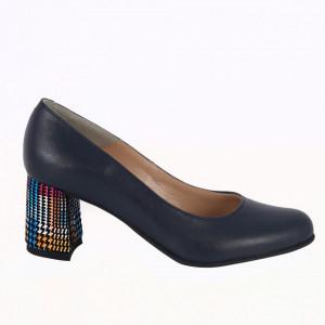 Pantofi cu toc din piele naturală cod P852 Blue