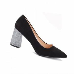 Pantofi Cu Toc Jolie Black - Pantofi cu toc gros cu un model deosebit și vârf ascuțit din piele ecologică întoarsă, foarte confortabili potriviți pentru birou sau evenimente speciale. - Deppo.ro