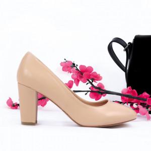 Pantofi Cu Toc Mattie Beige - Pantofi cu toc din piele ecologică cu un design unic. Fii în pas cu moda şi străluceşte la următoarea petrecere. - Deppo.ro