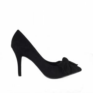 Pantofi Cu Toc Ony Black - Pantofi cu toc ascuțit din piele ecologică întoarsă, culoare neagră cu o fundiță de decor - Deppo.ro