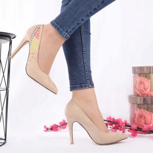 Pantofi cu toc pentru dame A259 Bej - Pantofi din piele ecologică, foarte confortabili potriviți pentru evenimente speciale. - Deppo.ro