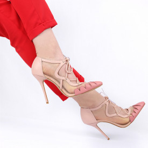 Pantofi cu toc pentru dame cod V404 Bej - Pantofi cu toc pentru dame din piele ecologică Închidere prin baretă Conferă lejeritate și eleganță - Deppo.ro