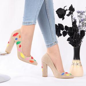 Pantofi Cu Toc Raquel Beige