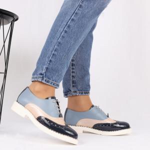 Pantofi din piele naturală albastră Cod 490