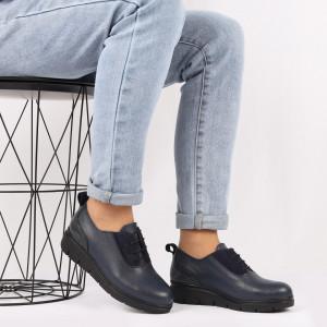 Pantofi din piele naturală albaştri Cod 481