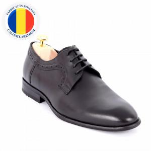 Pantofi din piele naturală Alfonzo Black - Pantofi din piele naturală, model simplu, finisaje îngrijite cu undesign deosebit și închidere prin șiret - Deppo.ro