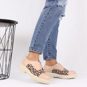 Pantofi din piele naturală bej Cod 482