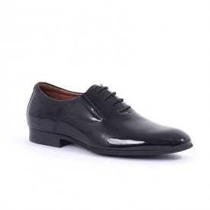 Pantofi din piele naturală Blacky - Pantofi negrii din piele naturală lăcuită, un model clasic elegant - Deppo.ro